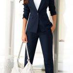 2021 Ofis Kombinleri Bayan Takım Elbise Lacivert Pantalon ve Ceket Spor Kesim Takım