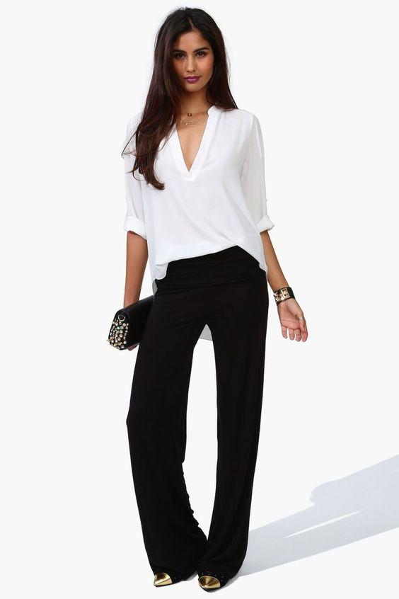2018 Ofis Kombinleri Siyah Bol Kesim Pantalon Beyaz V Yaka Spor Gömlek