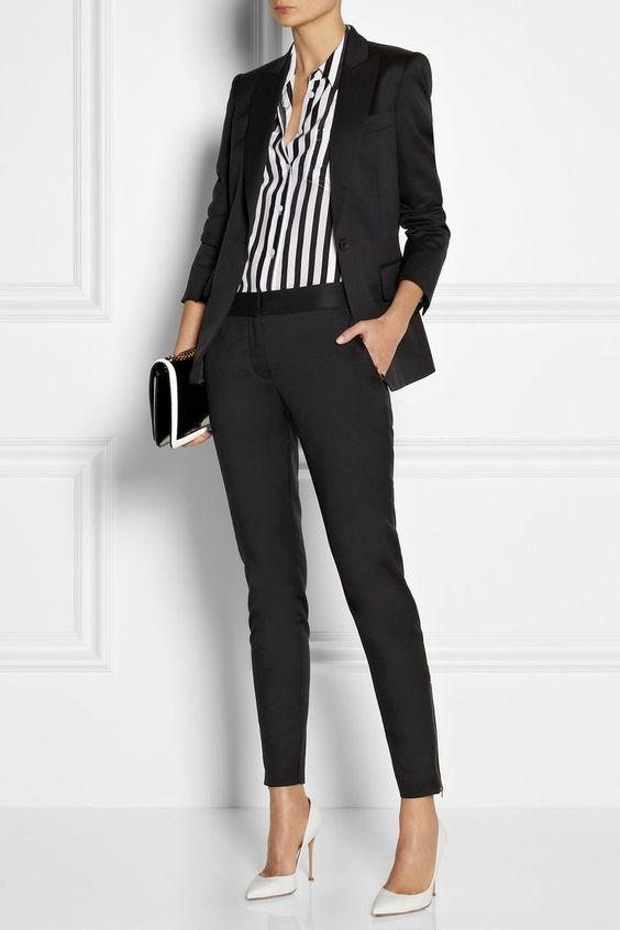 2021 Ofis Kombinleri Bayan Takım Elbise Siyah Dar Pantalon ve Ceket Takım
