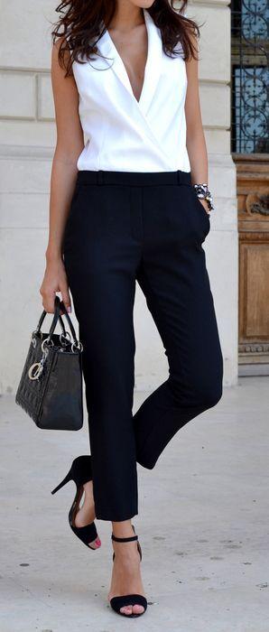 2021 Ofis Kombinleri Bayan Takım Elbise Siyah Kalem Pantalon Beyaz Sıfır Kol V Yakalı Gömlek