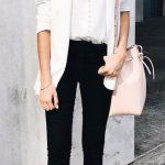2019 Ofis Kombinleri Bayan Takım Elbise Siyah Pantalon Beuaz Düğmeli Gömlek
