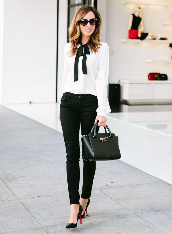 2021 Ofis Kombinleri Bayan Takım Elbise Siyah Pantalon Beyaz Gömlek Siyah Fiyonk Detaylı