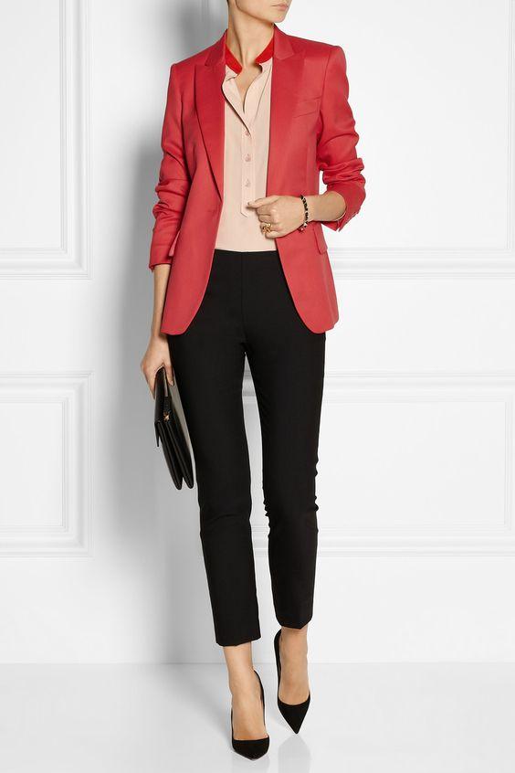 2021 Ofis Kombinleri Bayan Takım Elbise Siyah Pantalon Kırmızı Ceket