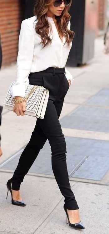 2021 Ofis Kombinleri Bayan Takım Elbise Siyah dar paça pantalon Beyaz Gömlek