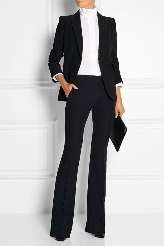 2021 Ofis Kombinleri Bayan Takım Elbise Siyah İspanyol Paça Pantalon Ceket Takım