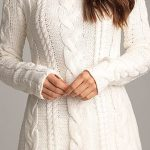 2020 Kar Beyaz Triko Elbise Modelleri Şık ve Dikkat Çekici Kazak Elbiseler