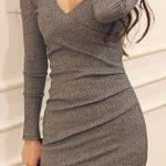 2020 Füme Triko Elbise Modelleri Şık ve Dikkat Çekici Kazak Elbiseler