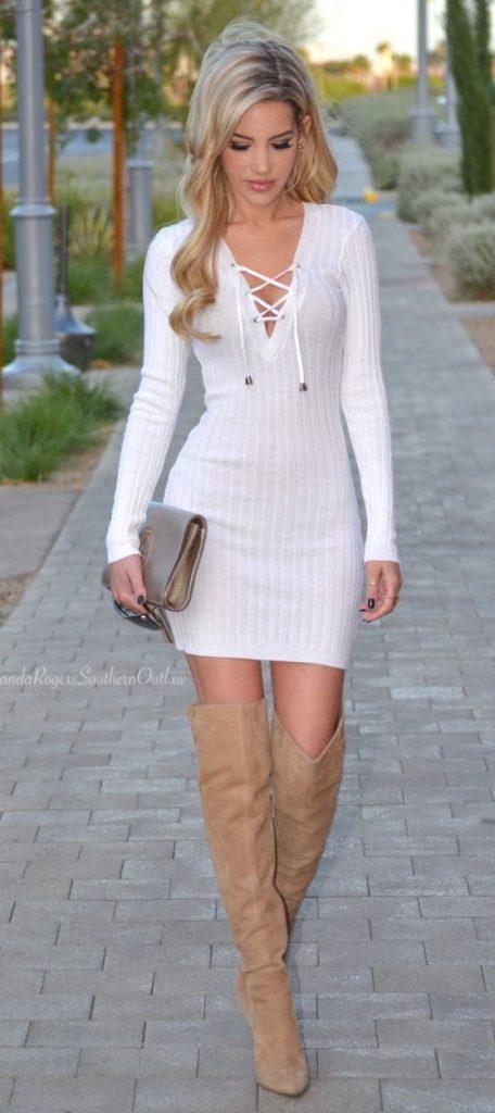 Beyaz Triko Elbise Modelleri Şık ve Dikkat Çekici 2018 Kazak Elbiseler