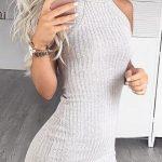 2020 Gri Triko Elbise Modelleri Şık ve Dikkat Çekici Kazak Elbiseler