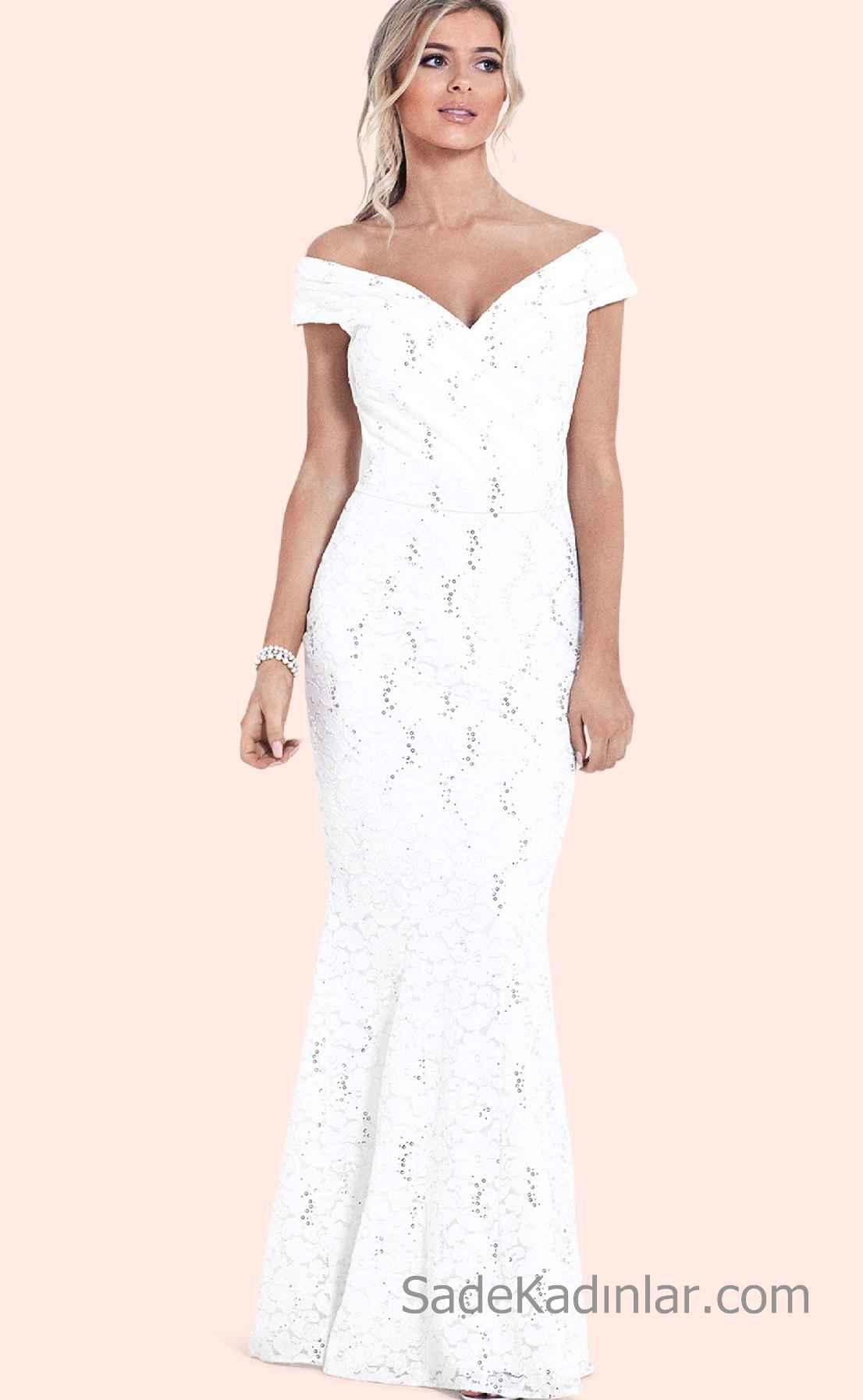 a0787f0ff9e87 Beyaz Elbise Modelleri Dantel Detaylı Omuzları Açık V Yaka Uzun Abiye