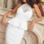 Beyaz Elbise Modelleri Halter Yaka Kısa Dantel Elbise