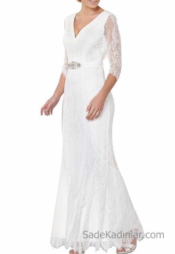 808e0bcd57b37 2018 Beyaz Elbise Modelleri V Yaka Dantel Detaylı Uzun Abiye ...