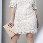 Büyük Beden Elbise Modelleri Beyaz Kısa Yetim Kol Dantelli