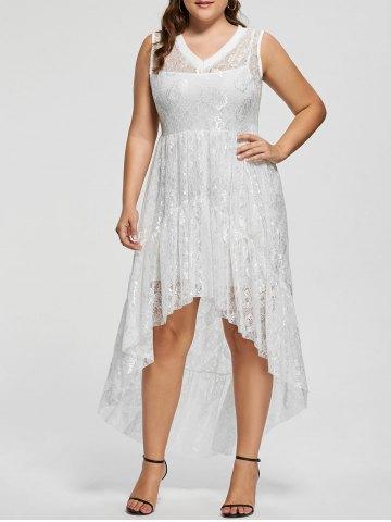 2020 Büyük Beden Elbise Modelleri Beyaz Sıfır Kol Dantel