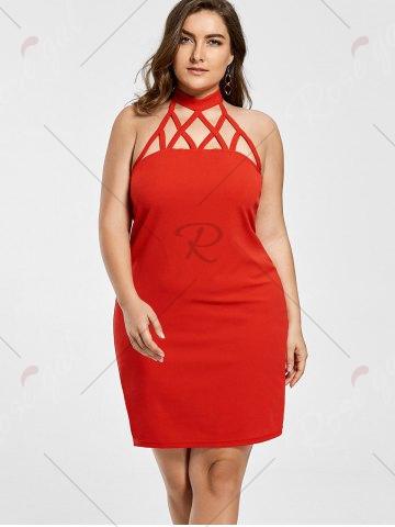 2020 Büyük Beden Elbise Modelleri Kırmızı Kısa Halter Yaka