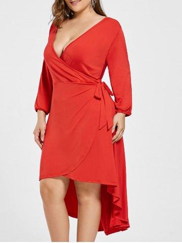 2020 Büyük Beden Elbise Modelleri Kırmızı Kısa V Yaka Yandan Bağlamalı etek