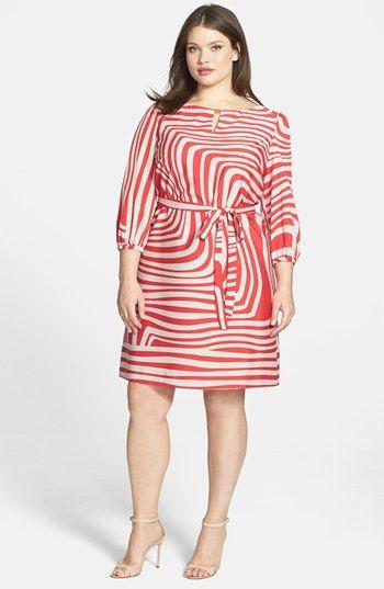 Büyük Beden Elbise Modelleri Kırmızı Çizgili Uzun Kollu