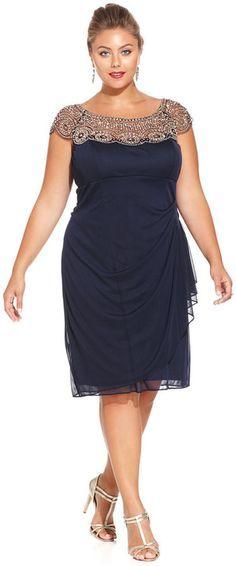 Büyük Beden Elbise Modelleri Lacivert Tüllü Yakası Taş İşlemeli