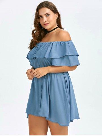 2020 Büyük Beden Elbise Modelleri Mavi Kısa Omzu Açık Fırfırlı Yaka