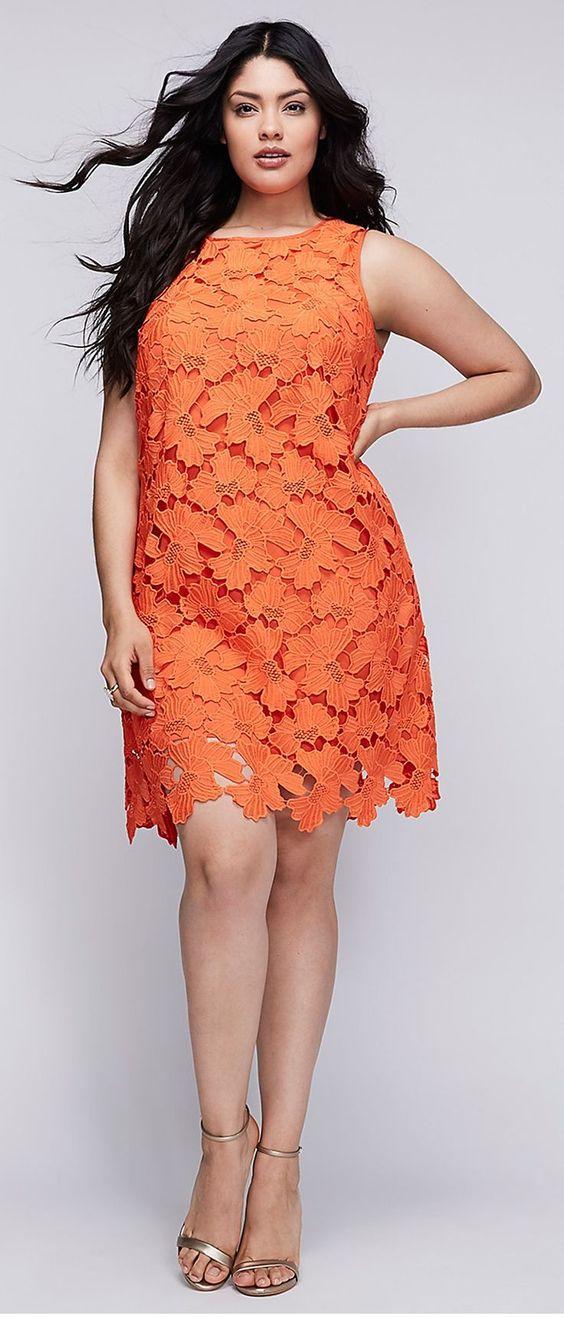 Büyük Beden Elbise Modelleri Oranj Kısa Sıfır Kol Güpür Kumaş