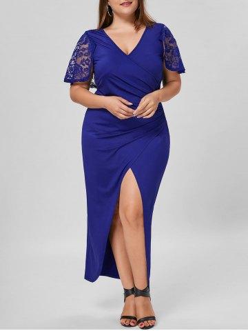 Büyük Beden Elbise Modelleri Saks Mavi Uzun Kısa Kol Derin Yırtmaçlı