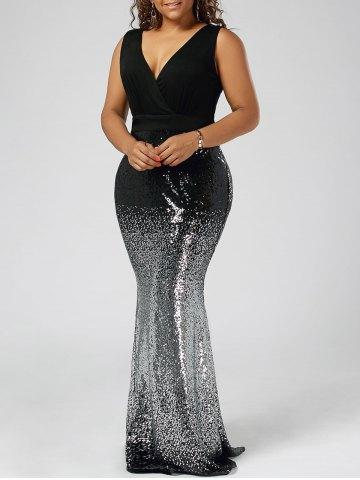 2020 Büyük Beden Elbise Modelleri Siıah Uzun KAlın Askılı Balık Model