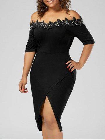 2020 Büyük Beden Elbise Modelleri Siyah Diz Boyu Omzu Açık Öncen Yırtmaçlı