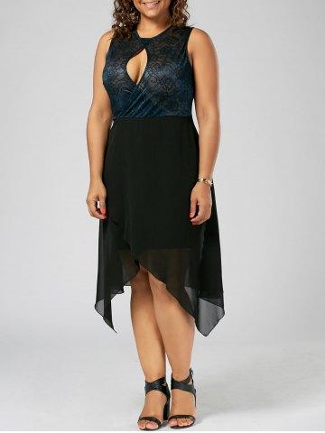 2020 Büyük Beden Elbise Modelleri Siyah Diz Boyu Tüllü Etek