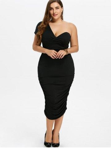 2020 Büyük Beden Elbise Modelleri Siyah Kalem Etek Boyu Tek Omuz Açık