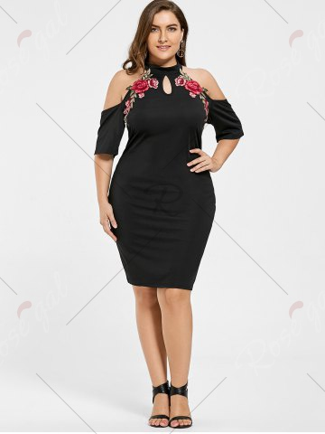 2020 Büyük Beden Elbise Modelleri Siyah Kısa Halter Yaka Nakış İşlemeli