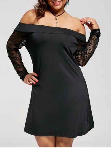 2020 Büyük Beden Elbise Modelleri Siyah Kısa Straplez Uzun Tül Kol