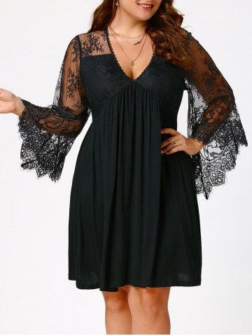 2020 Büyük Beden Elbise Modelleri Siyah Kısa V Yaka Uzun Dantel Kollu
