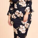 Büyük Beden Elbise Modelleri Siyah Omzu Açık Fırfır Kollu