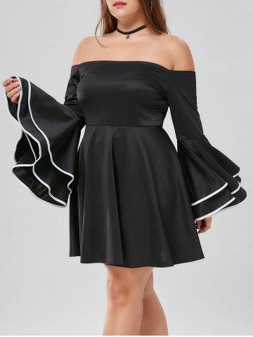 2020 Büyük Beden Elbise Modelleri Siyah Straplez Kısa İspanyol Fırfırlı Kol