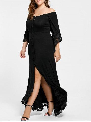 Büyük Beden Elbise Modelleri Siyah Uzun Omzu Açık Önden Düğmeli