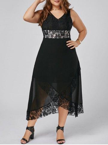 2020 Büyük Beden Elbise Modelleri Siyah Uzun V Yaka Çapraz Etek