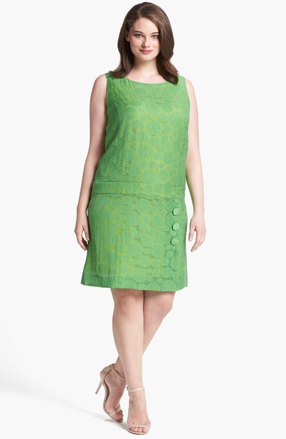 Büyük Beden Elbise Modelleri Yeşil Sıfır Kol Düğmeli