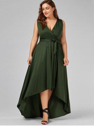 2020 Büyük Beden Elbise Modelleri Yeşil Uzun V Yakalı Belden Bağlamalı