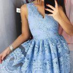 Elbise Modelleri mavi kısa kalın askılı etekleri güpürlü