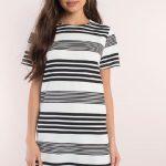 Günlük Elbise 2018 Şık ve Rahat Yazlık Elbiseler beyaz kısa siyah çizgili
