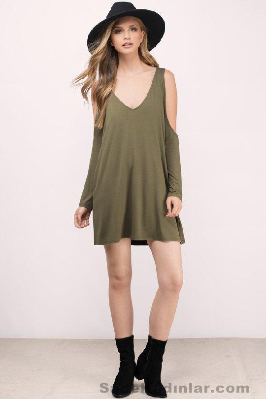 39624eec60c14 Günlük Elbise 2018 Şık ve Rahat Yazlık Elbiseler yeşil kısa salaş model. «