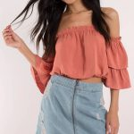 2019 Yazlık Kıyafet Kombinleri Somon Omzu Açık bol Bluz Kısa Kot Etek