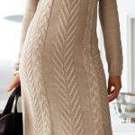 2020 Kahverengi Triko Elbise Modelleri Şık ve Dikkat Çekici Kazak Elbiseler