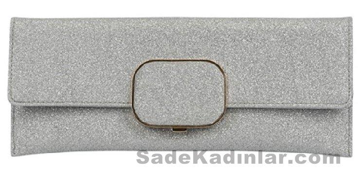 Kumaş kaplamalı simli abiye çanta