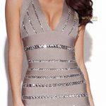 Mini Elbise Modelleri gri kısa sıra taş süslemeli