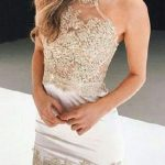Mini Elbise Modelleri krem kısa transparan tüllü