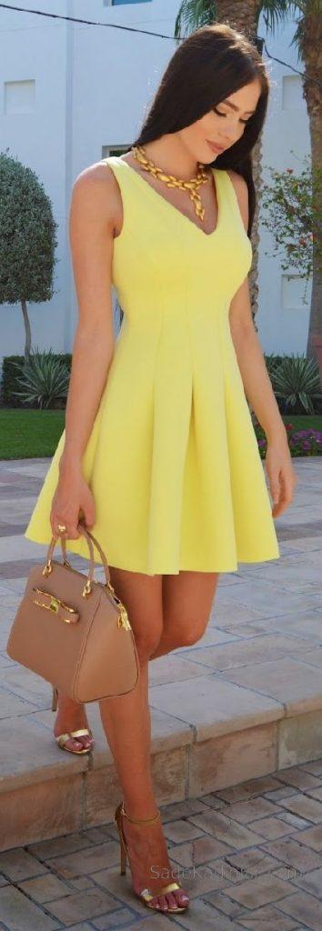 Sarı Elbise Modelleri kısa kalın askılı