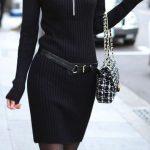 Siyah Triko Elbise Modelleri Şık ve Dikkat Çekici_2018 Kazak Elbiseler