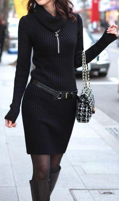 2020 Siyah Triko Elbise Modelleri Şık ve Dikkat Çekici Kazak Elbiseler