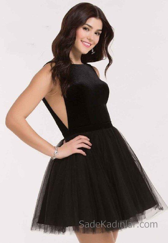 Siyah tül etek kısa mezuniyet elbisesi Genç Abiye Elbise